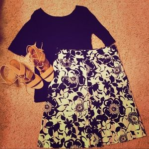 Merona black and cream skirt size 6